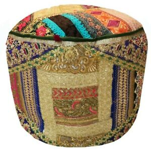 Handmade Patchwork Pouf Cover Moroccan Footstool Vintage Patchwork Ottoman Cover