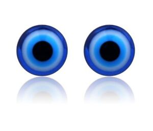Gothic Blue Evil Eye Ball Magnetic Acrylic Punk None Pierced Clip On Earrings