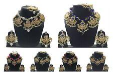 Indian Bollywood Style Kundan Gold Fashion Jewelry Choker Pearl Necklace Sets