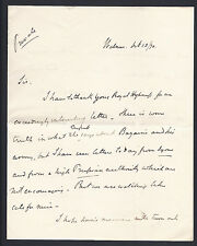 Earl Granville Signed Letter to Prince of Wales 1870 Belgium Franco-Prussia War