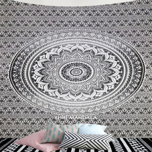 Grey hippie mandala wall Tapestry Bohemian bedspread Cotton dorm decor throw