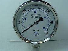 "301L-402H 4"" Glycerin Filled Stainless Steel Gauge 1/2"" NPT LM 0/300 psi"