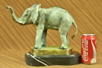 Bronze African Elephant Statue Lifelike Safari Animal Ornament Unique Home Gift