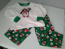 Carter's girl sz 5  pajama set Penguin holiday sleepwear long sleeves white P'J
