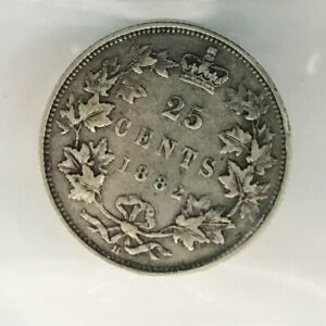 1882H Canadian 25 Cents CCCS F15