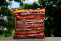 Hand Loomed Cushion Cover Rag Rug Chindi Pillow Case Recycled Fabric Sofa Pillow