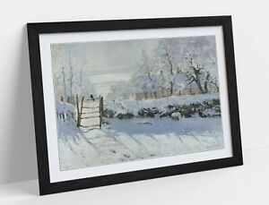 CLAUDE MONET THE MAGPIE -ART FRAMED POSTER PICTURE PRINT ARTWORK- BLUE GREY