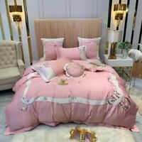 Luxury Egypt Cotton Bedding Set Embroidery Duvet Cover Bed Sheet Queen King New