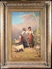 1923 LARGE ITALIAN OIL ON BOARD - MONOGRAMMED - GIRLS IN LANDSCAPE WITH GOATS