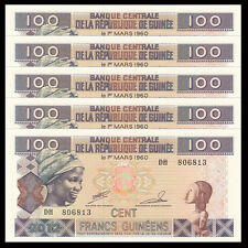 Lot 5 PCS, Guinea 100 Francs, 2012, P-35b, UNC