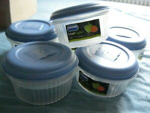 ADDIS SMALL STORAGE CONTAINERS X 6 NEW IN BOX 5 INCHES DIAMETER