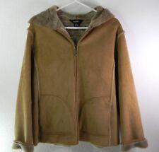 AEROS Women's Hooded Fuzzy Soft Jacket MEDIUM Beige Tan Faux Suede & Fur Lined