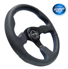 NRG Steering Wheel Race Leather with Blue Stitch 320mm Type-R Style RST-012R-BL