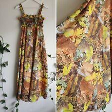 Vintage 70s Woodland Print Maxi Dress XS Autumn Brown Gold Animal Leaf Lily Boho