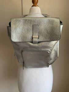 Whistles Metallic Silver Leather Backpack / Top Handle Handbag