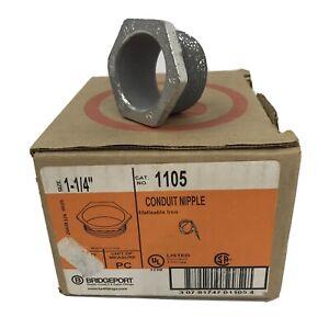 "Bridgeport 1105 1-1/4"" Conduit Nipple Malleable Iron (Lot Of 9)~NEW~"
