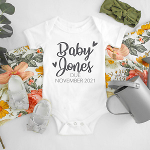Personalised Pregnancy Announcement - Name Surname Bodysuit Baby Vest Gift