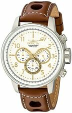 "NEW Invicta Men's 16010 S1 ""Rally"" Stainless Steel Watch with Brown Leather Band"