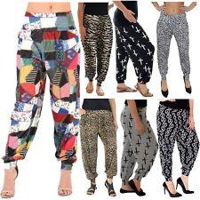 Señoras Impreso más tamaño leggings longitud completa holgados Harén Pantalones Pantalones 8-26