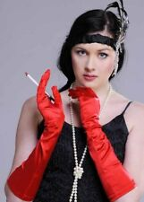 Ladies 20s Flapper Long Red Satin Gloves