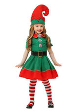Green Kids Girls Children Santa Elf Costumes Christmas Fancy Dress Outfits Us