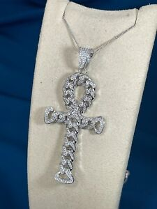 Unique Ankh Cross Design 925 Sterling Silver Necklace Pendant Iced Out With Cz