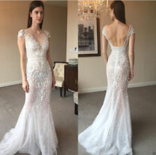 Sexy Backless Cap Sleeve Mermaid Wedding Dress Bridal Gown Custom 4 6 8 10 12 ++