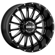 "4-NEW Bold Off-Road BD002 20x10 5x135/5x5"" -24mm Black/Milled Wheels Rims"