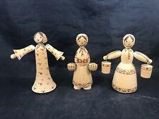 Vintage Wooden Russian Handmade Dolls Set of 3 Wood Burned Figurines