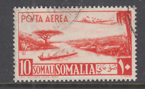 Somalia Sc C27 used. 1951 10s red orange Air Mail stamp, top value to set