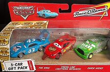 DISNEY PIXAR CARS MODELLINI 3 CAR GIFT PACK KING CHICK HICKS FINISH LINE MCQUEEN