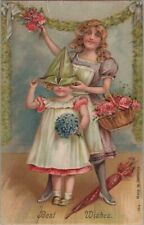 C 1910 Embossed Postcard Best Wishes Woman/Girl in Paper Hat w/ Flowers C2