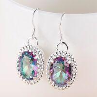 Dazzling Oval Fire Blue Mystic Topaz Quartz Kunzite Silver Dangle Earrings