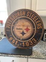 "NFL Pittsburgh Steelers Round Distressed Established Wood Sign 24"" In Diameter"
