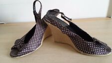 NEW LOOK POLKA DOT BROWN & WHITE HESSIAN WEDGE SLINGBACKS PEEP TOE WITH BOW SZ 6