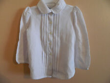 NWT Ralph Lauren girl antique cream pin tuck pleated button down dress shirt 24m