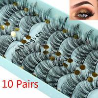 DINGSEN 10 Pairs 3D False Eyelashes Wispy Fluffy Natural Long Lashes Handmade Sy