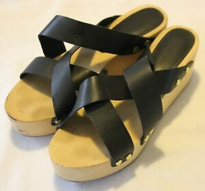 COUNTRY ROAD ~ Black Strappy Leather Sandals w Timber Platform Wedge Heels 36 5