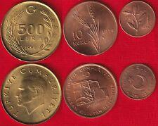 Turkey set of 3 coins: 1 kurus - 500 lira 1972-1990
