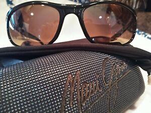 Maui Jim Typhoon Polarized Sunglasses 168-02 Black/Bronze W/ Case Rare