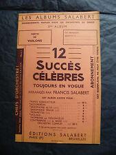 Partition 12 succès célèbres Francis Salabert Violons 1939 Music Sheet