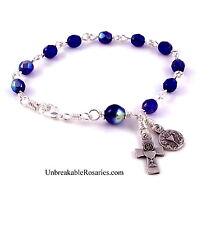 Holy Communion Rosary Bracelet Blue Czech Glass  Italian Chalice Medal and Cross