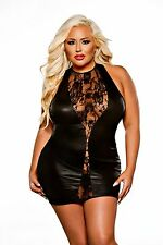 KITTEN SEXY LACE & WET LOOK MINI DRESS PLUS SIZE FROM ALLURE LINGERIE