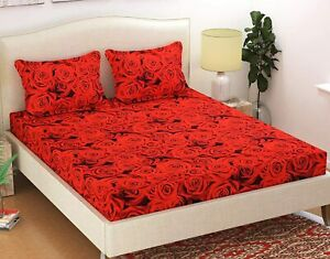 Poly Cotton Red Rose Printed 1 Double Bedsheet With 2 Pillow Covers 140TC-F Ship
