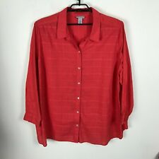 Catherines Blouse 2X Orange Plaid Long Sleeve Button Front Womens Top Cotton