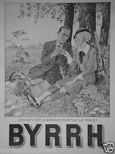 PUBLICITÉ 1936 BYRRH C'EST LE BONHEUR POUR TOUT LE MONDE - CHASSEUR LAPIN