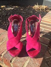 Wild Pair Fuchsia Pink Stappy Stiletto Open Toe Women's Platform heels