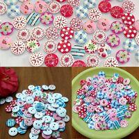 100Pcs 2 Agujeros Redondo Botones De Madera Costura 15 mm Manualidades buttons