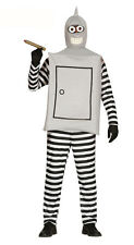 Adult Mens Robot Bender Costume Silver Space Futurama Fancy Dress Outfit 40-44