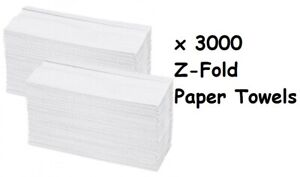 Premium Quality 3000 x Z Fold White Hand Paper Towel Small Sheet 2 PLY Tissue